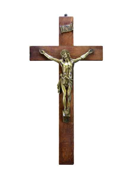 "31"" Vintage French Bronze and Wood Altar Crucifix"