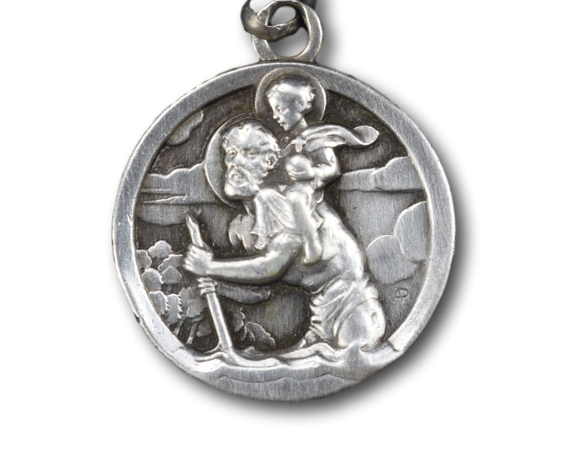 Large Saint Christopher Pendant, French Sterling Silver Car Protector Drivers Medal, Travellers Drivers PatronSaint, Baptism Gift