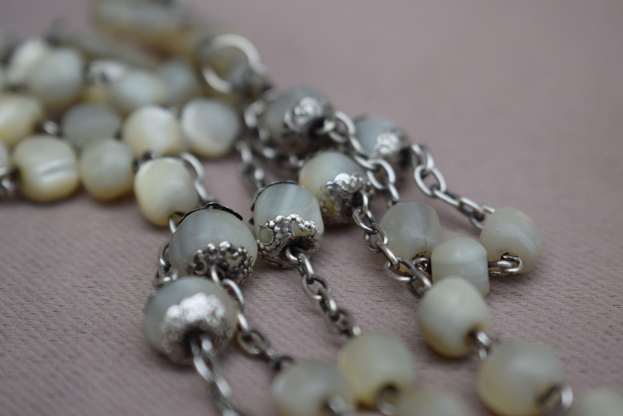 French Antique Mother of Pearl Beads & Sterling Silver Rosary - Silver Capped Beads Religious Necklace - First Communion Gift