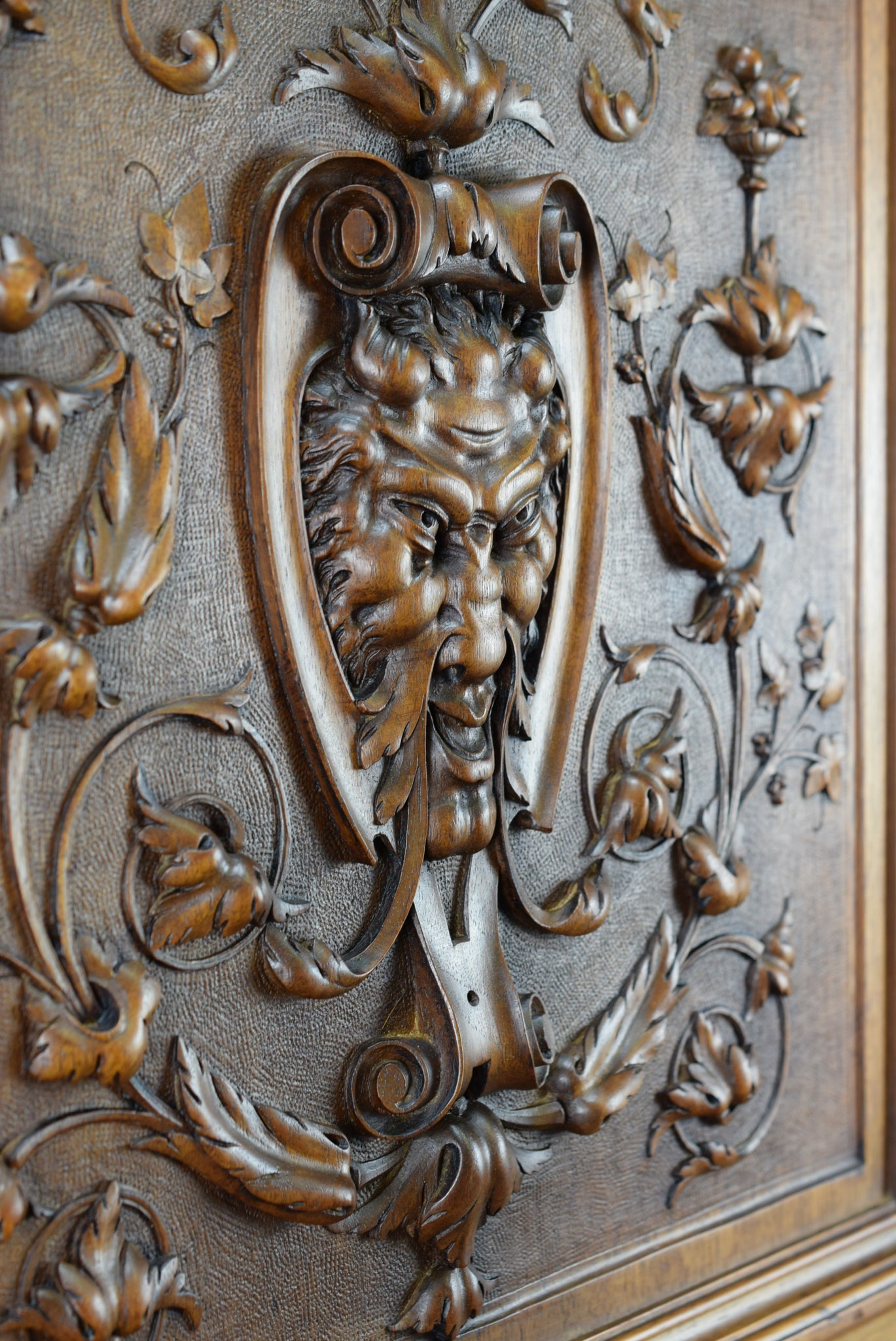 Green Man Wood Carved Door