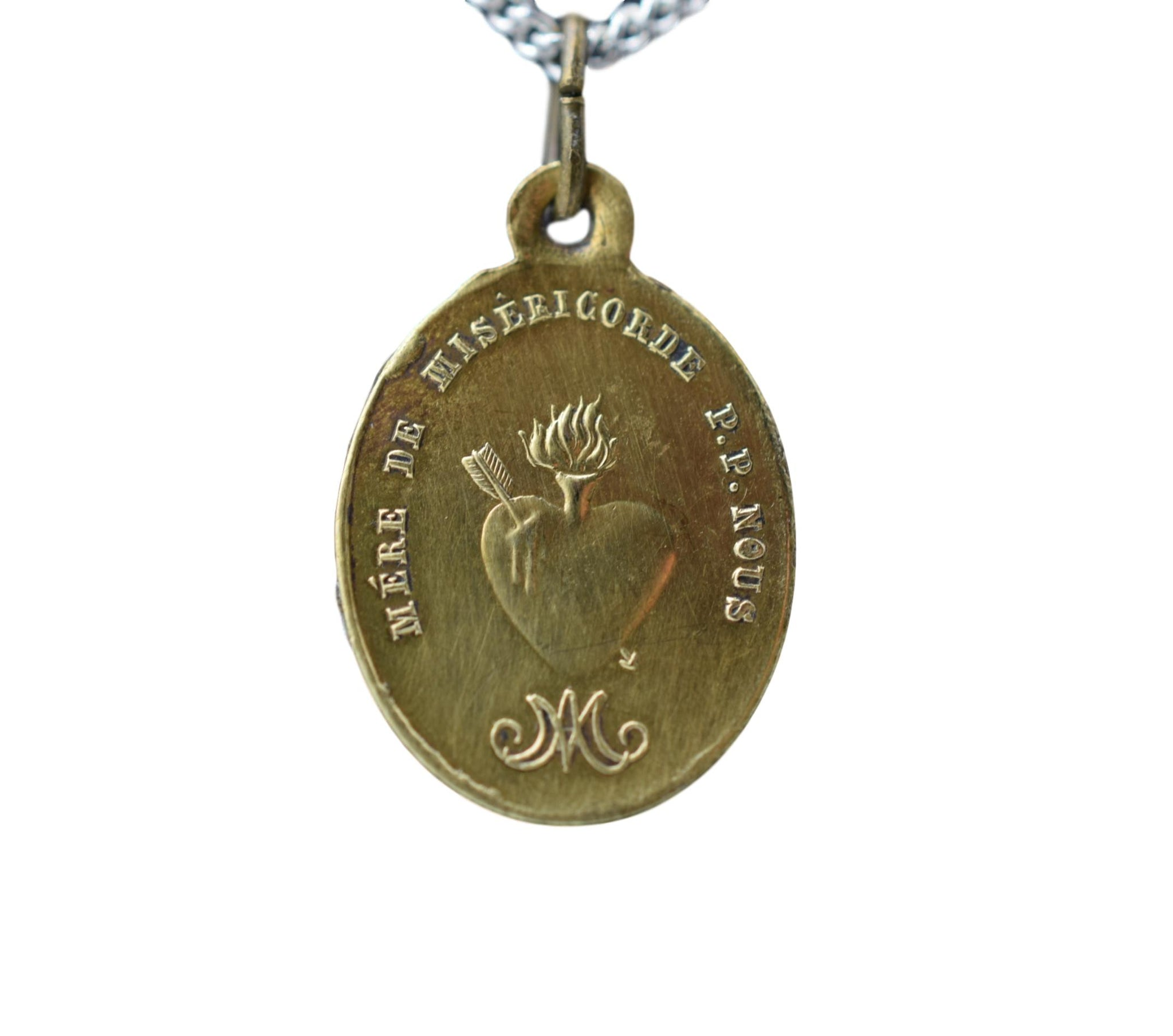 Mother of Mercy Medal Sacred Heart Pendant