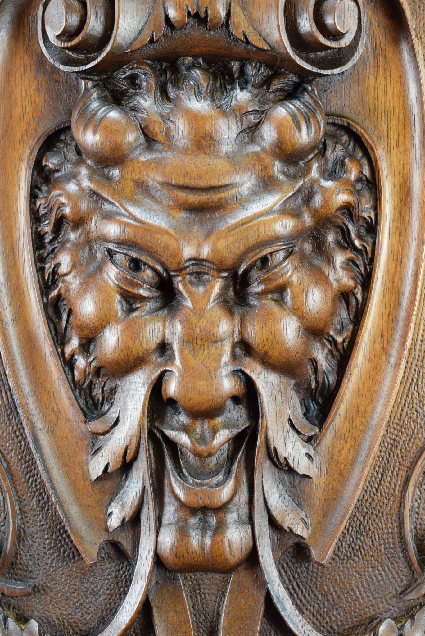 Hand Carved Wood Green Man Devil Door Panel