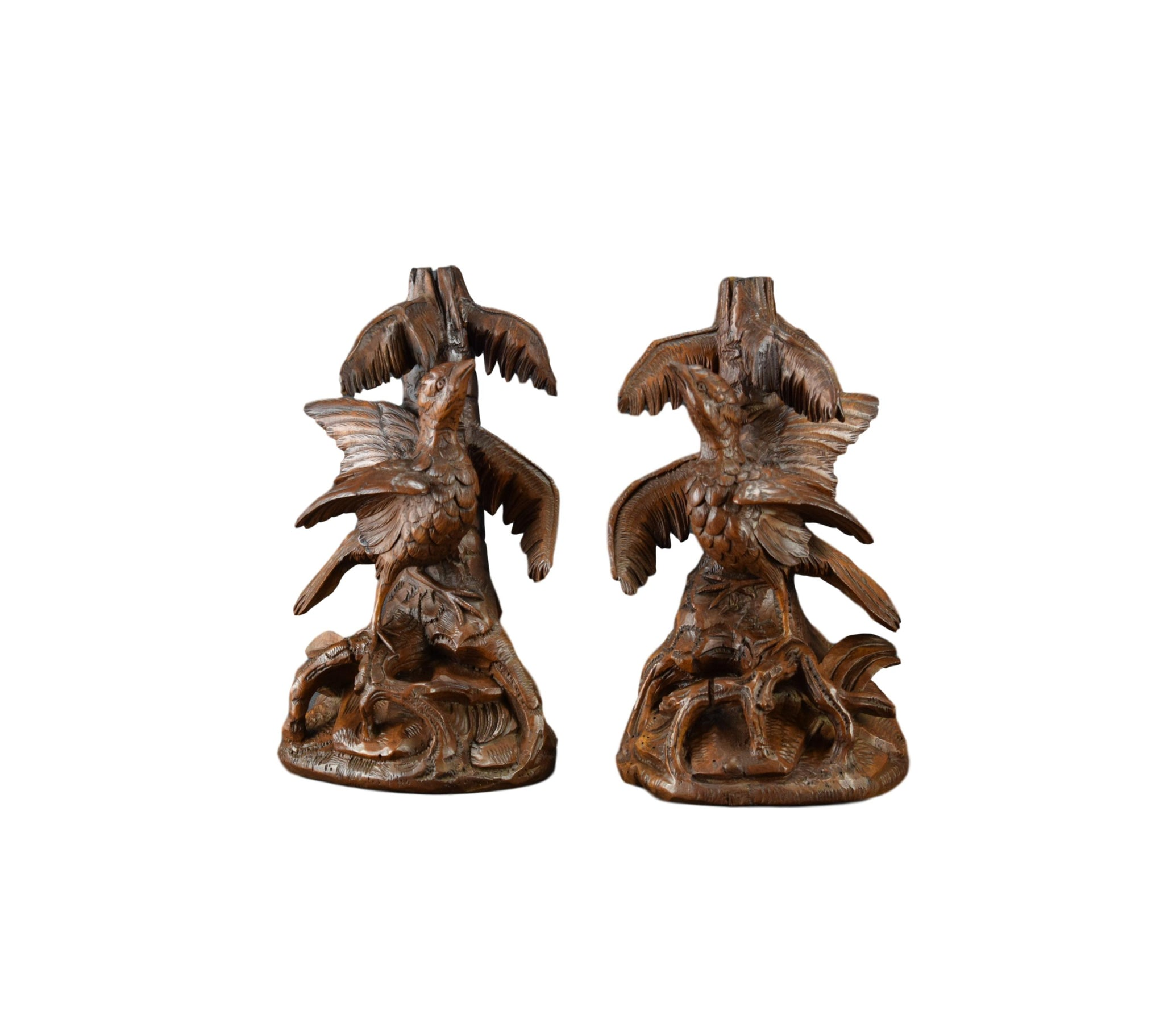 Black Forest Birds Epergne or Candle Stands - Charmantiques