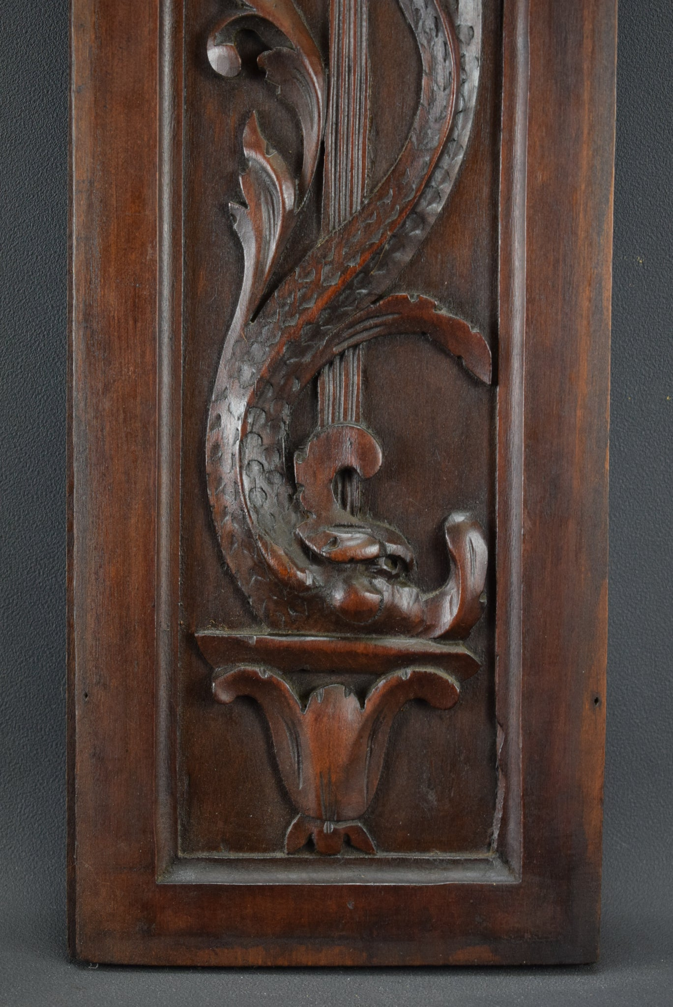French Antique Renaissance Style Carved Wall Panel Door Dolphin