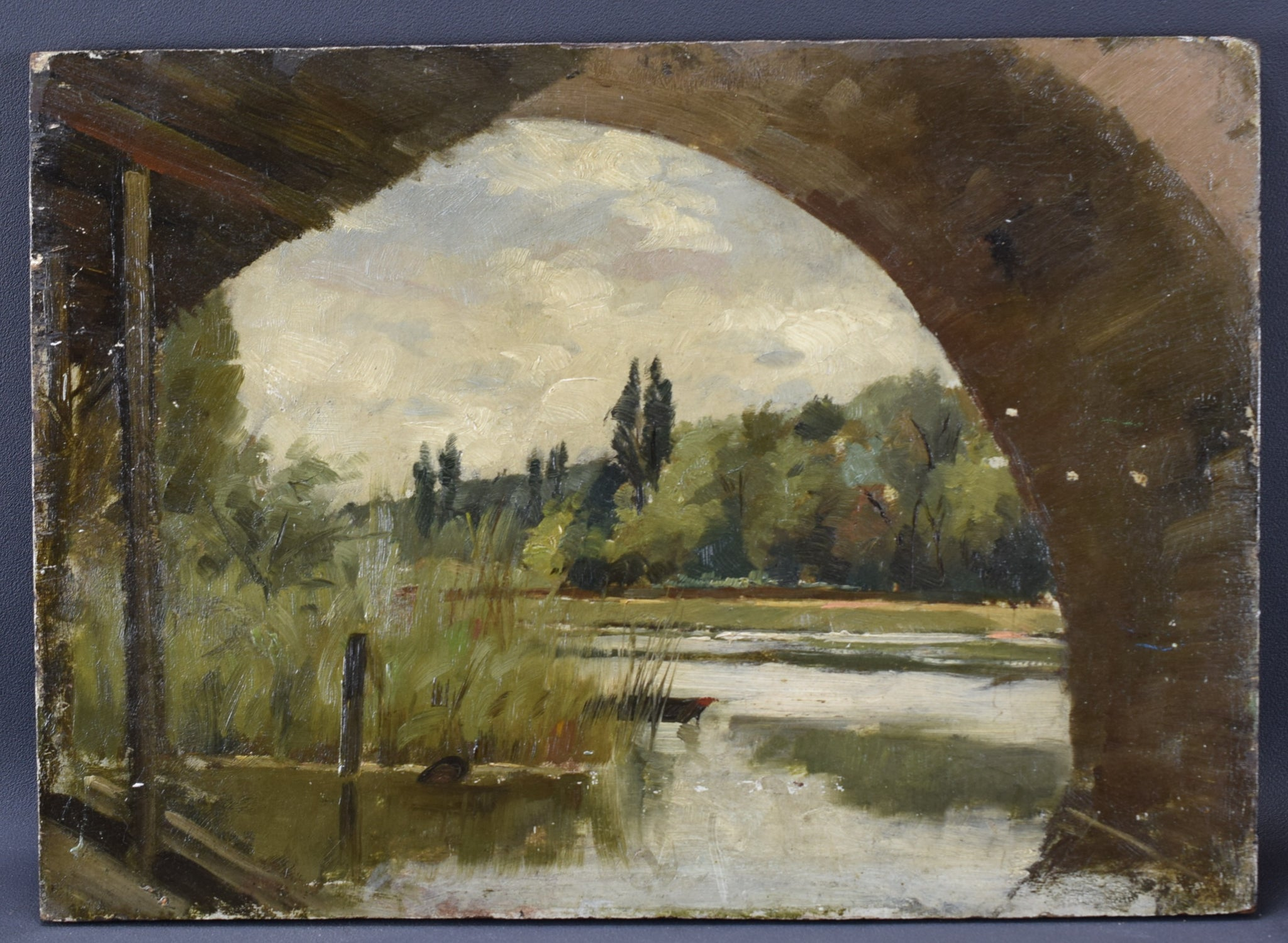French Impressionist Oil Painting River Bark