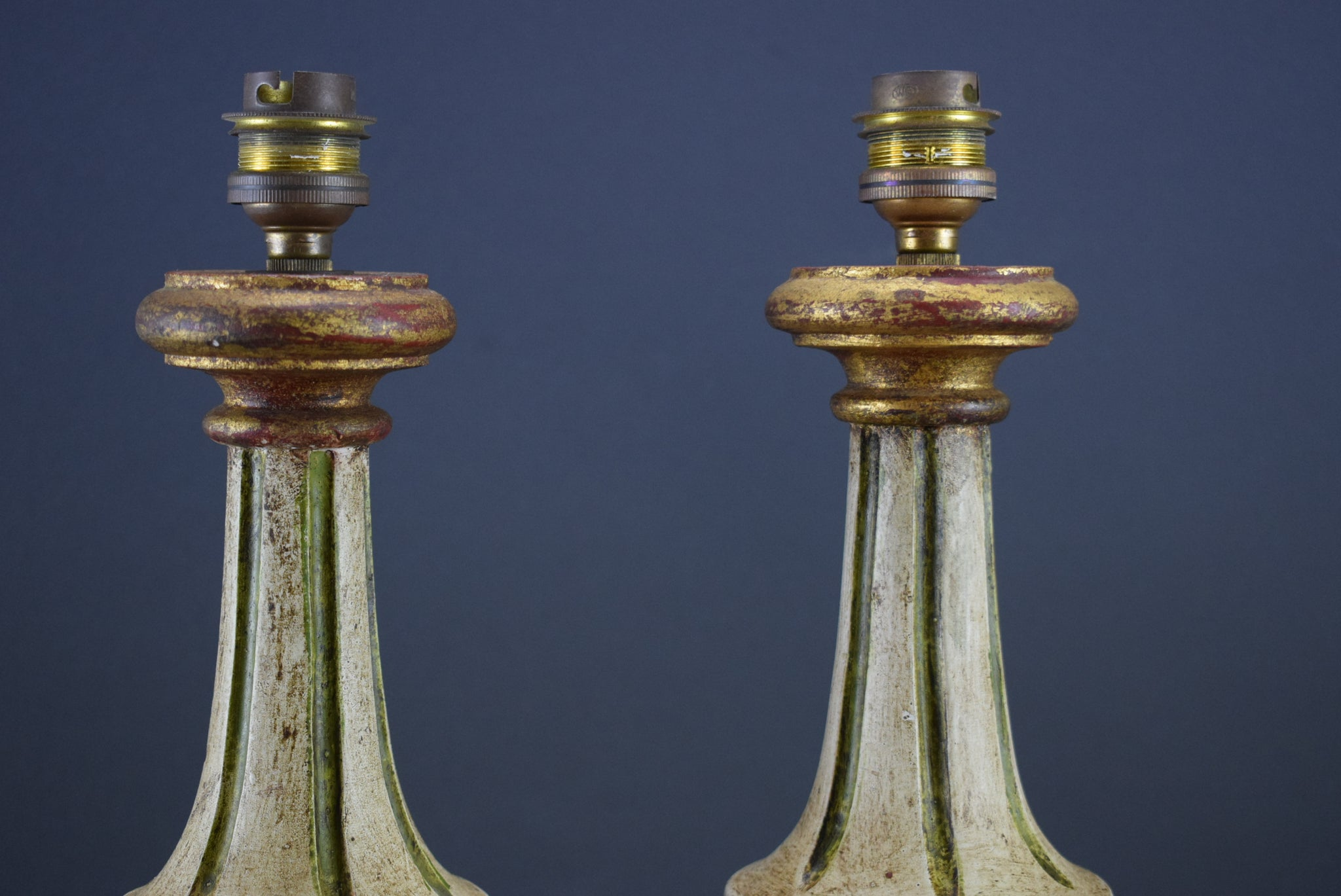 Pair Florentine Wood Table Lamps - Charmantiques