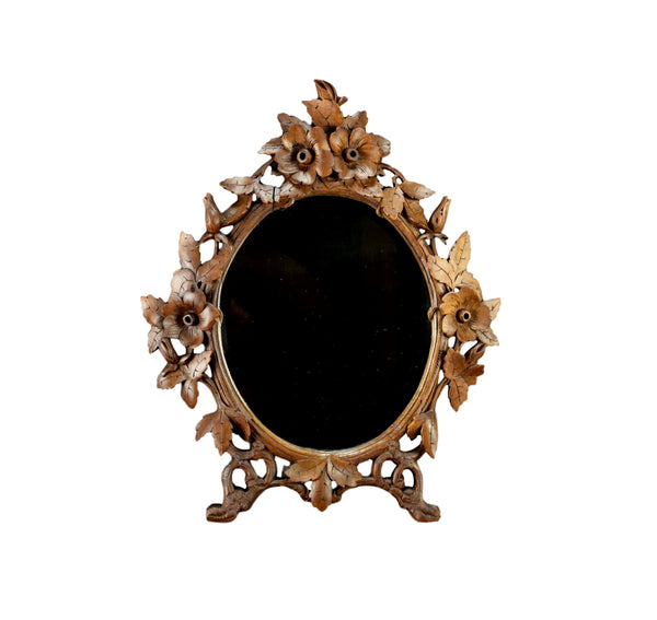 Black Forest Hand Carved Wood Wall Mirror Flowers