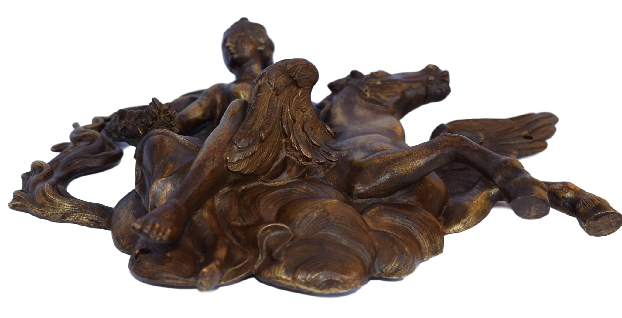 SOLD Winged Horse Bronze Pediment - Charmantiques