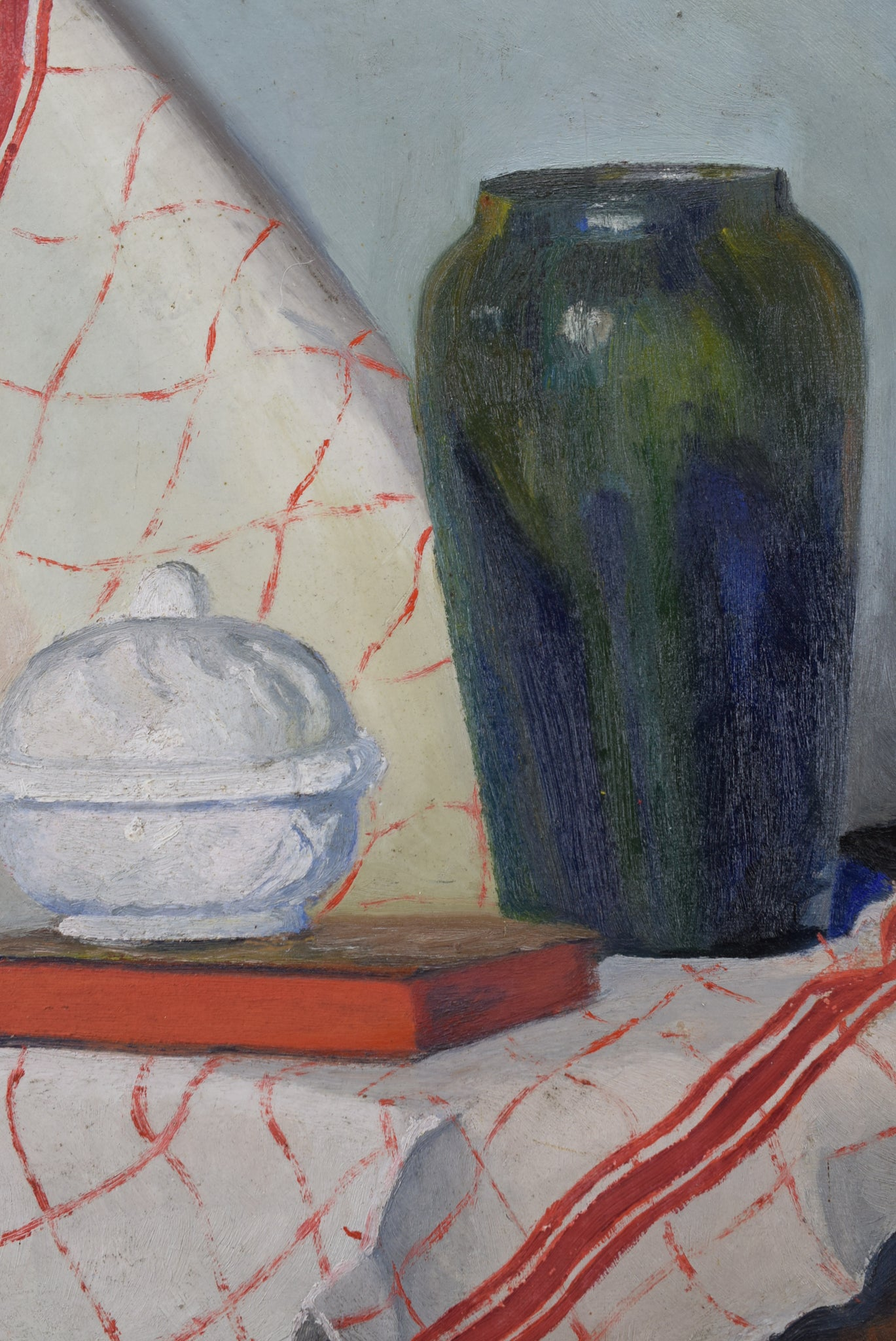 Still Life Oil Painting 1930's Tureen Towel Vase