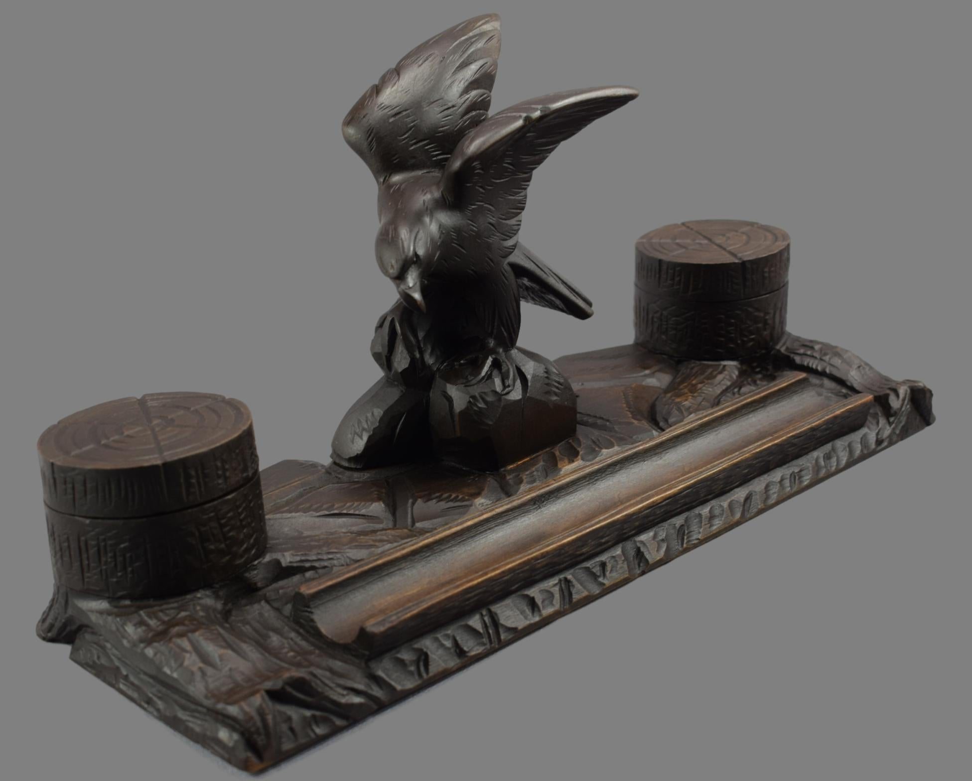 Black Forest Eagle Inkwell - Charmantiques