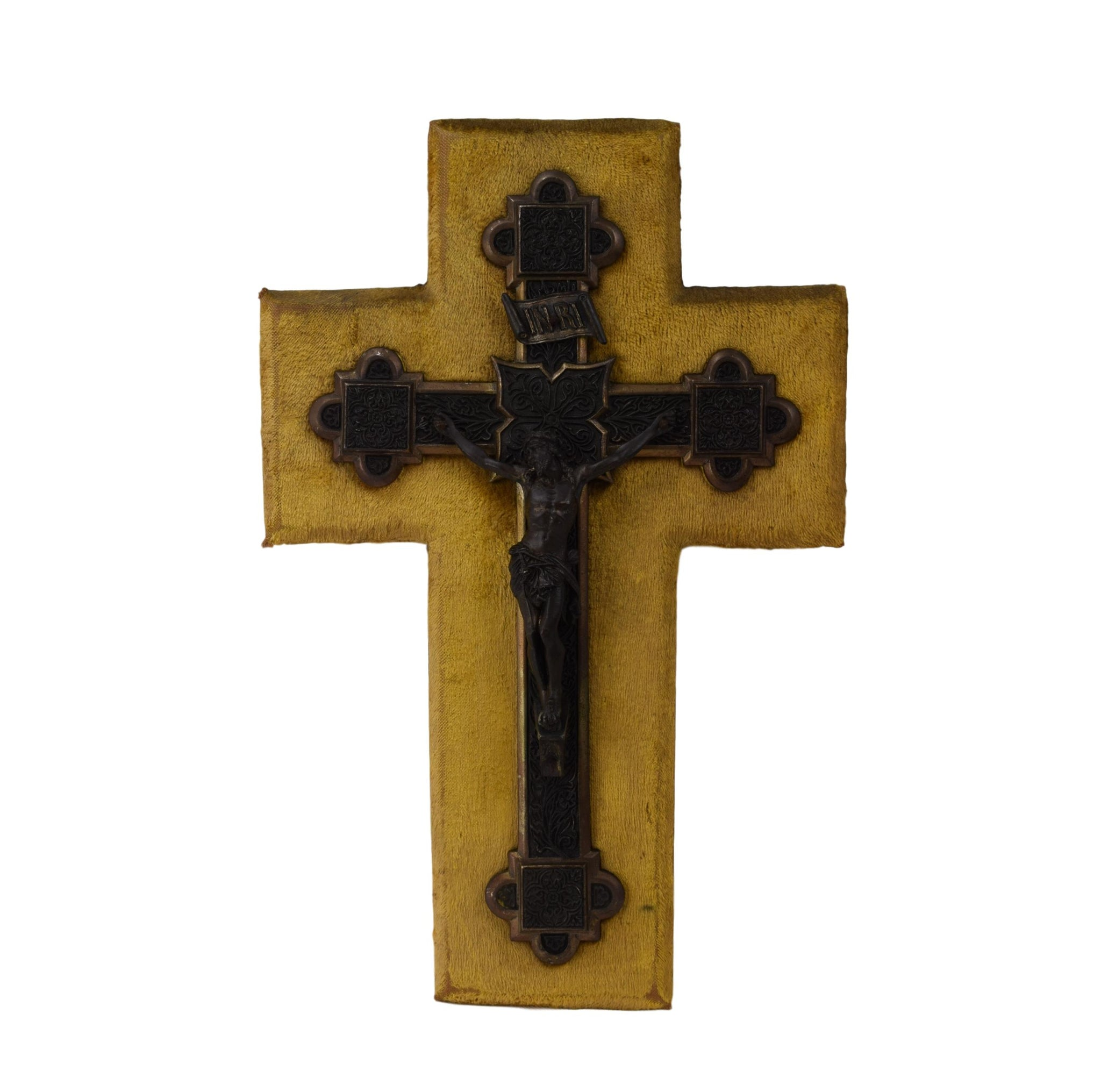 French Napoleon III Era Large Wall Cross - Yellow Velvet Wall Hanging Crucifix - Antique Religious Gift - Victorian Wall Crucifix