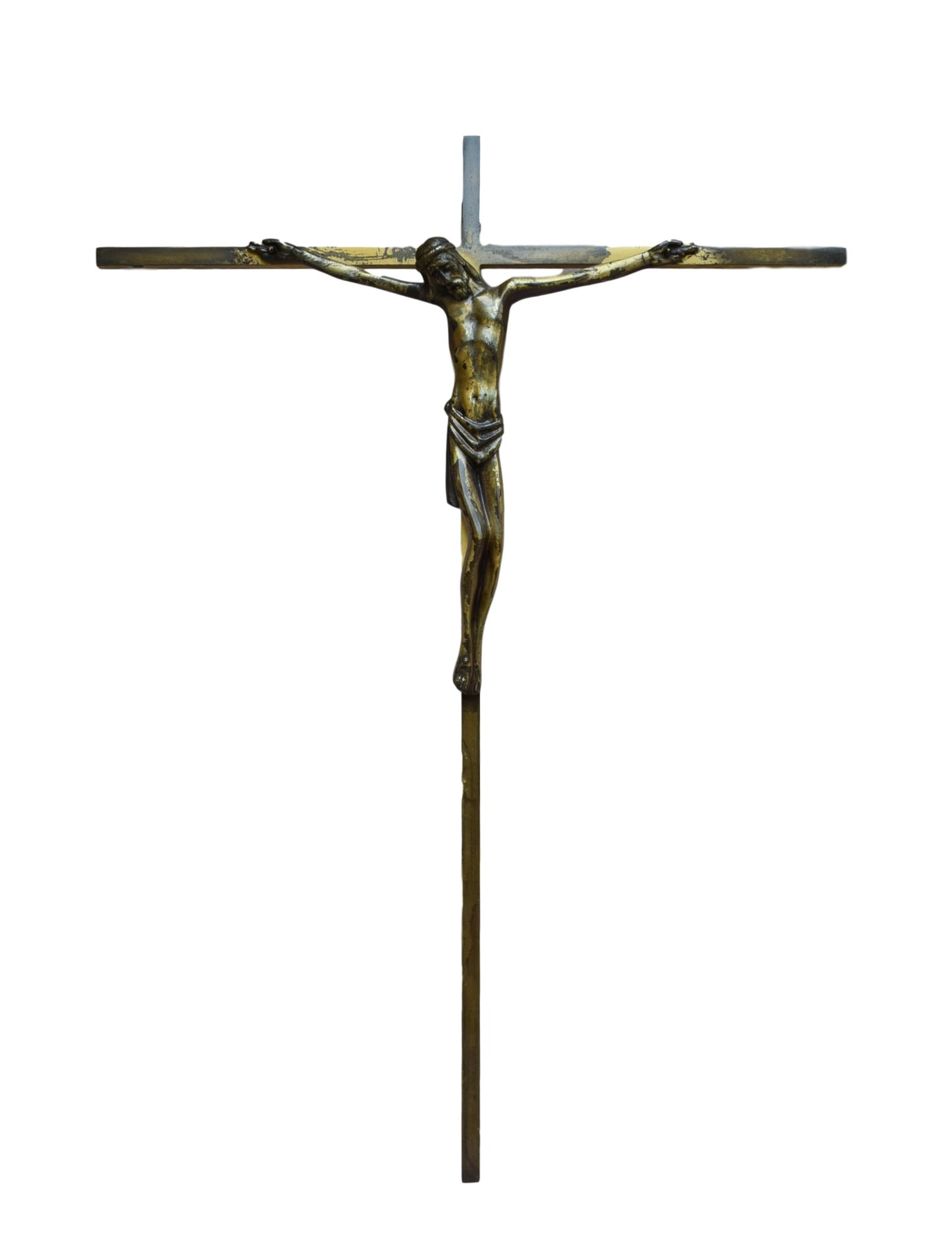 French Mid-Century Religious Large Bronze Wall Cross - Jesus Christ Corpus Crucifix - Bronze Wall Crucifix - French Catholic Gift