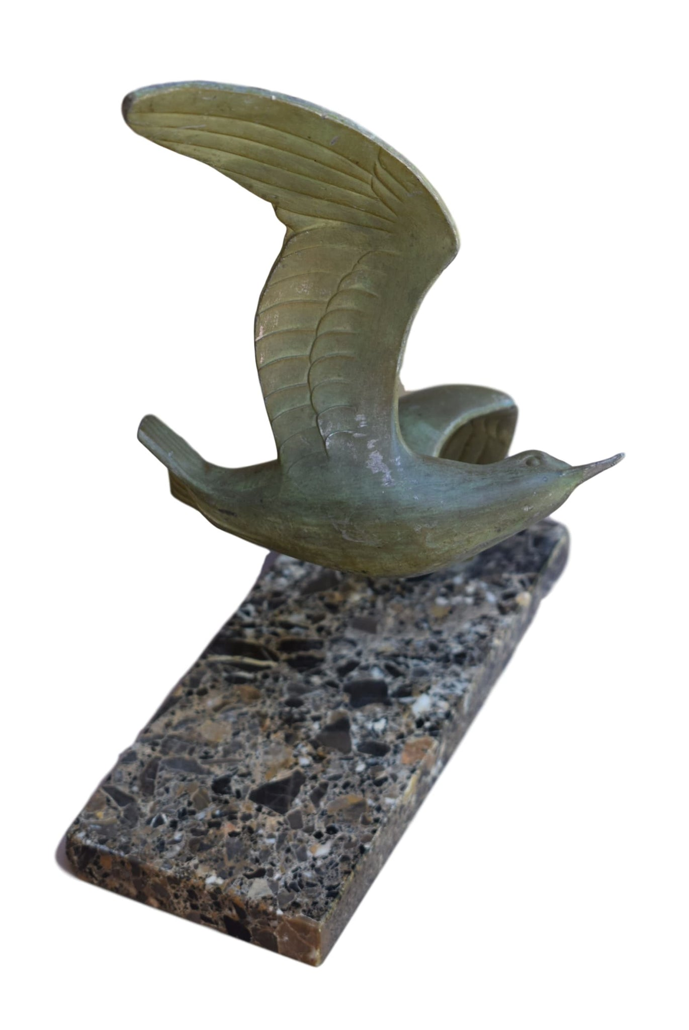 French Art Deco Sculpture of a Flying Seagull by M.Font 1930 on Marble Base - Charmantiques