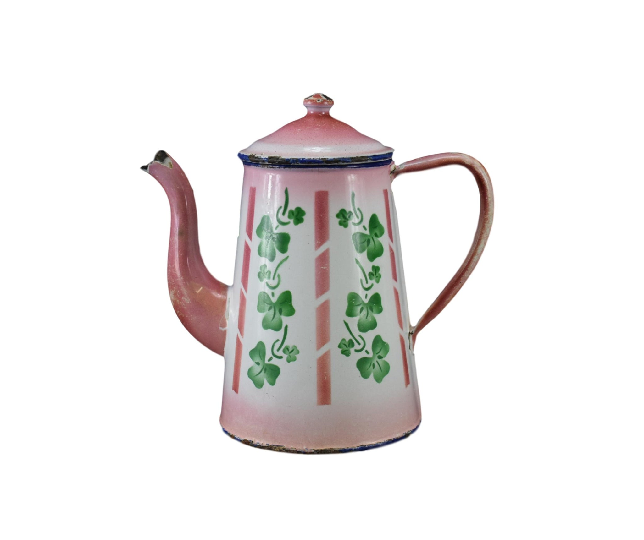 French Vintage Pink White & Green Clover Enamel Coffee Pot Country Shabby Chic Kitchenalia Water Jug