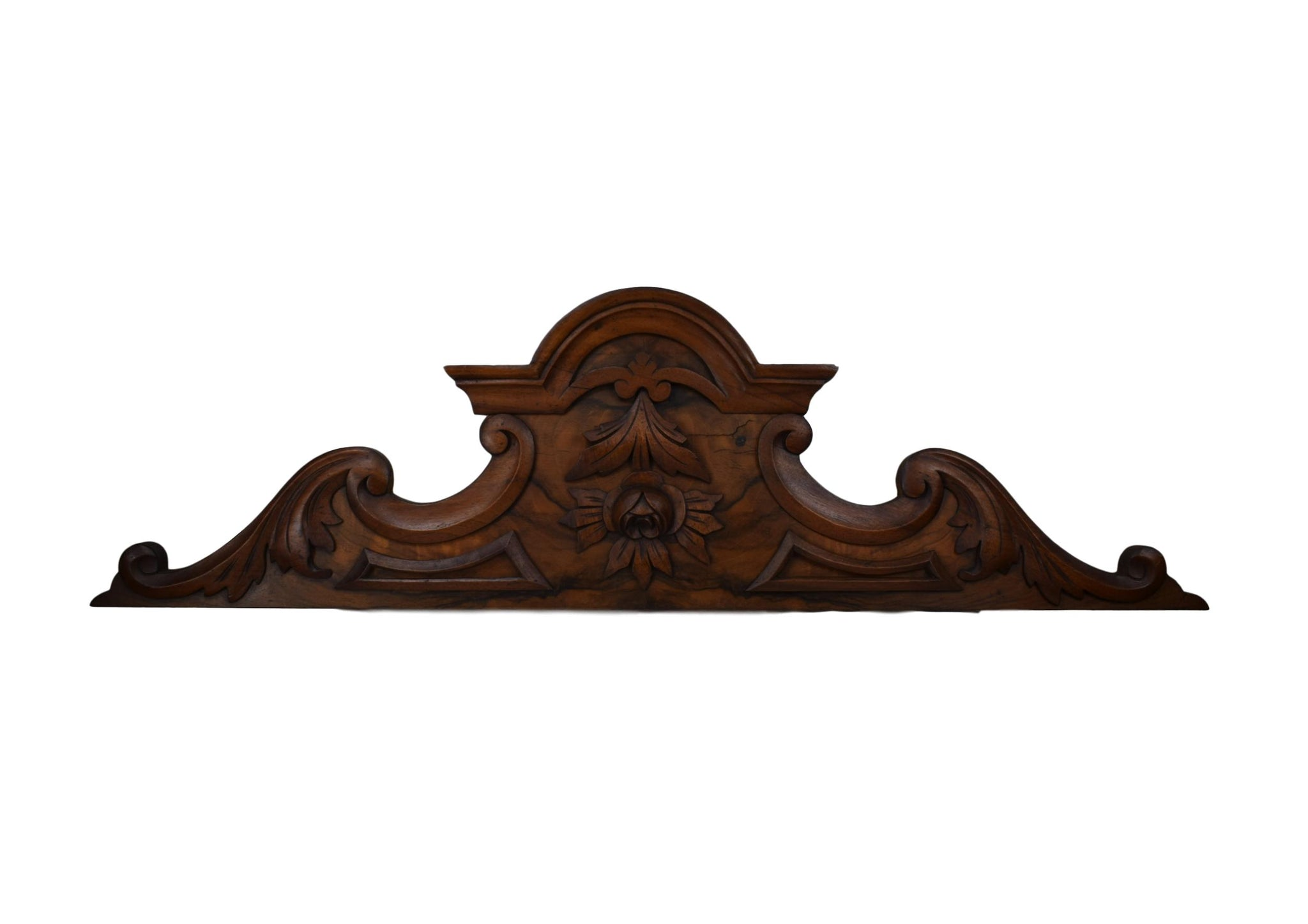 French Antique Carved Wood Pediment, French Antique Furniture Ornament Fronton Cornice, Veneer Wood Above Door Decor, Gustavian Style