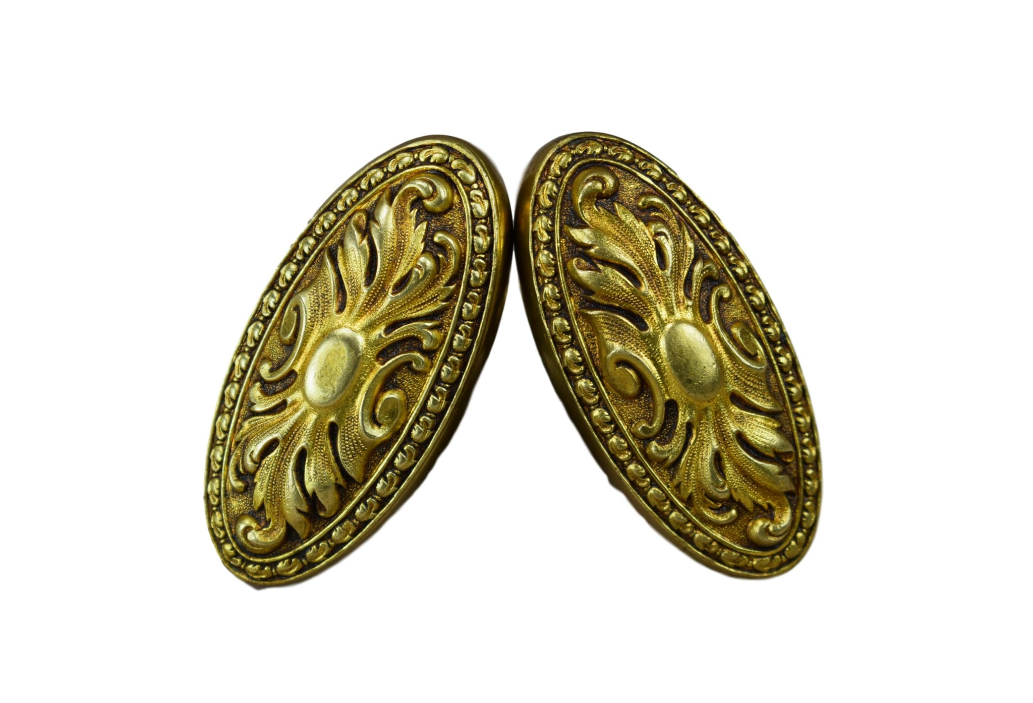 RARE Antique French PAIR of Ormolu Bronze Knobs, Door Handles, Salvaged Door Hardware, Home Renovation