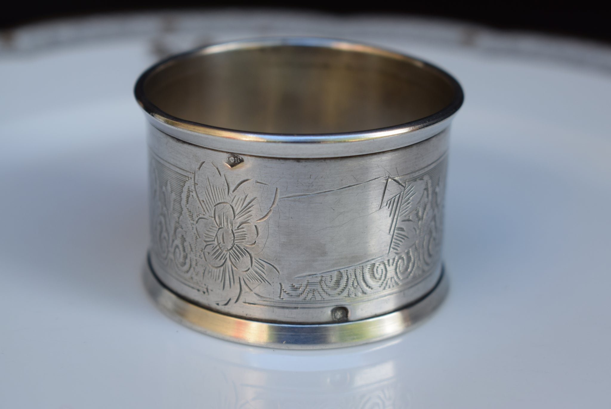 French Antique Sterling Silver Napkin Ring - Luxury Silverware Tableware - Birth Gift - French Country Cottage Table