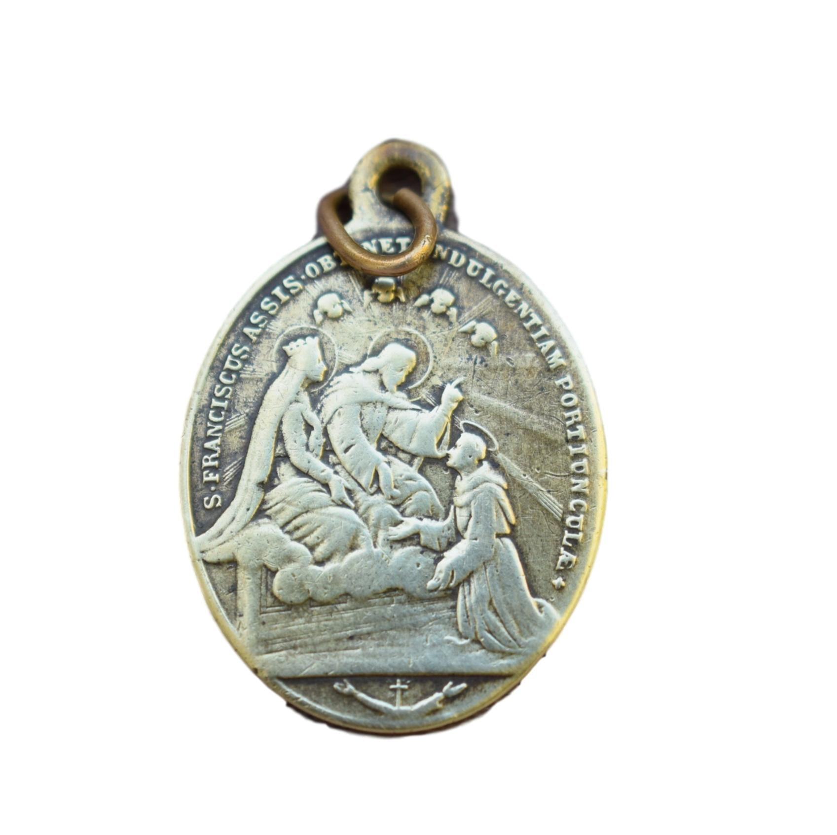 Angelorum de Portiuncula Mary Indulgence Medal - Saint Francis of Assisi Pendant - Antique French Religious Medal Catholic Pendant