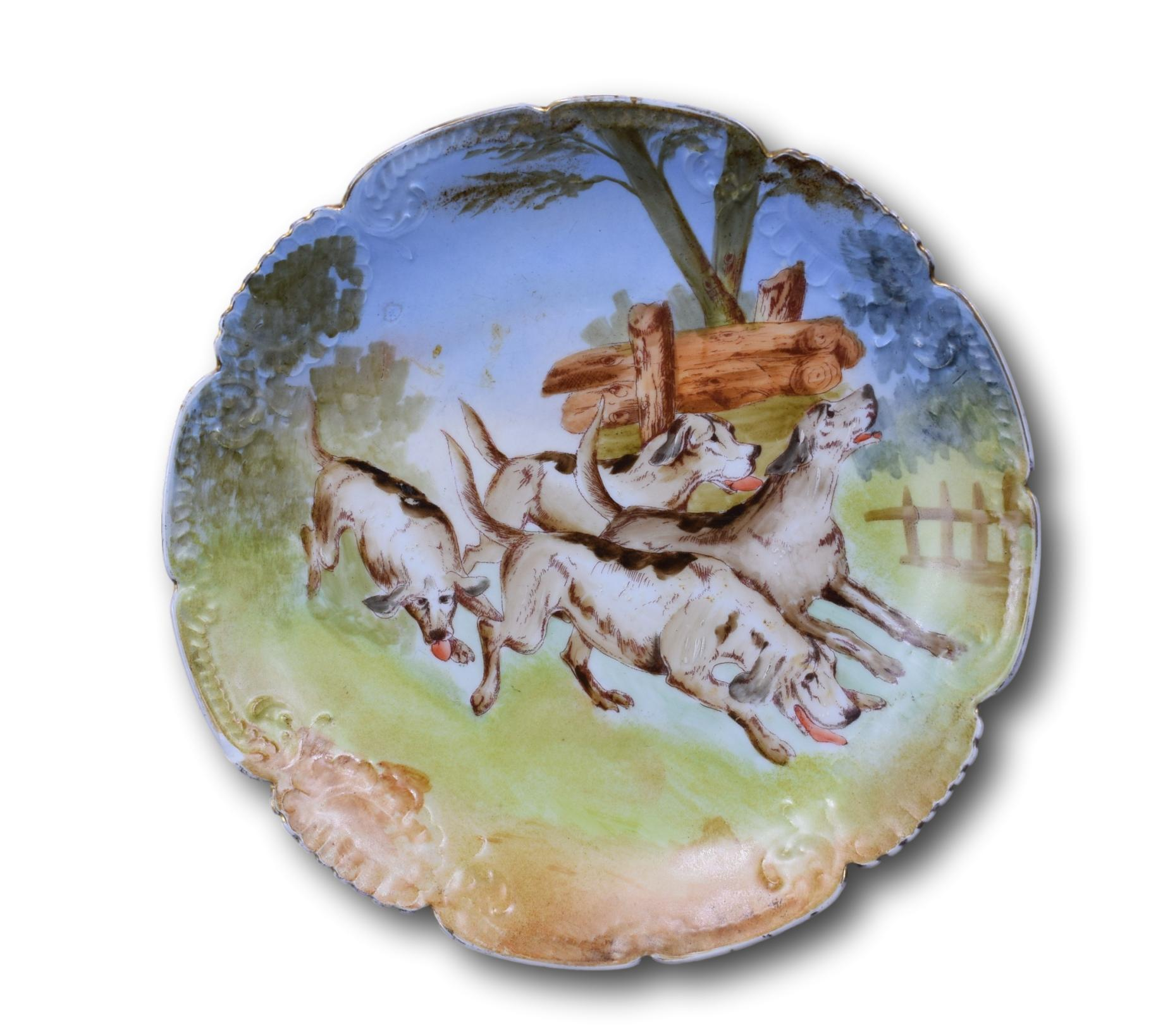 Hunting Dogs Porcelain Plate - Charmantiques