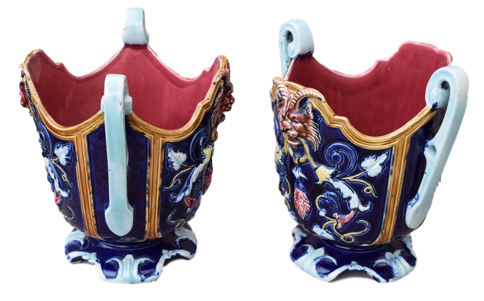French Antique Pair of Majolica Cache Pot - Charmantiques
