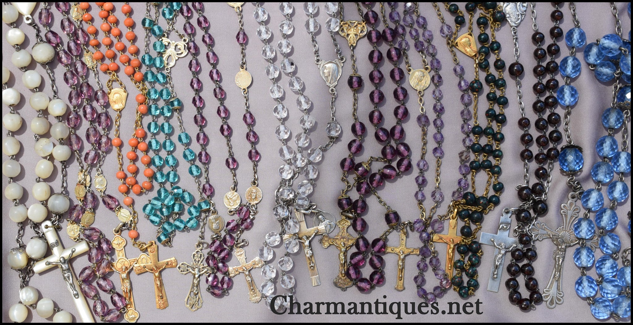 Turquoise and Silver Rosary - Charmantiques