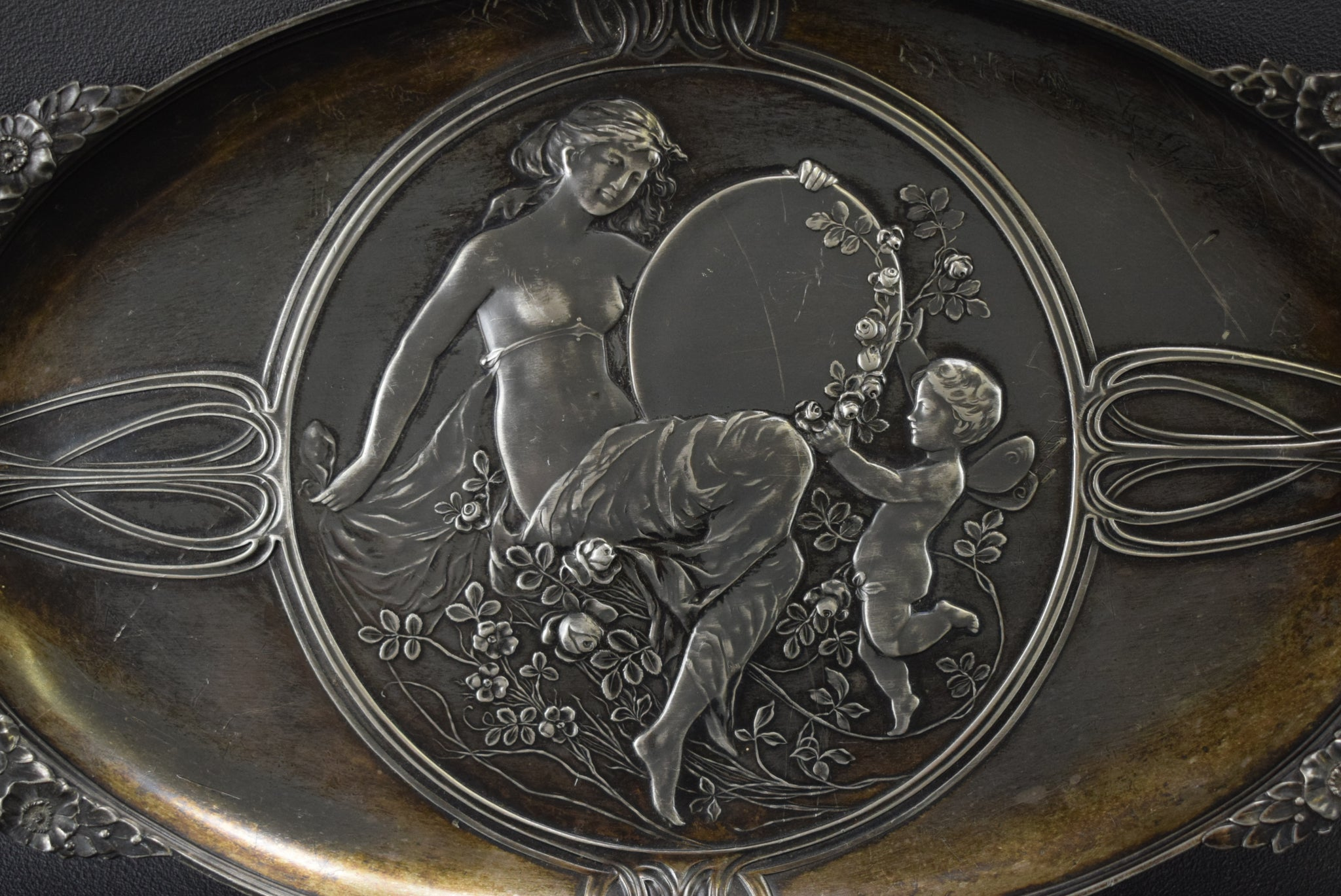 Art Nouveau WMF Silverplated Maiden and Angels Card Tray