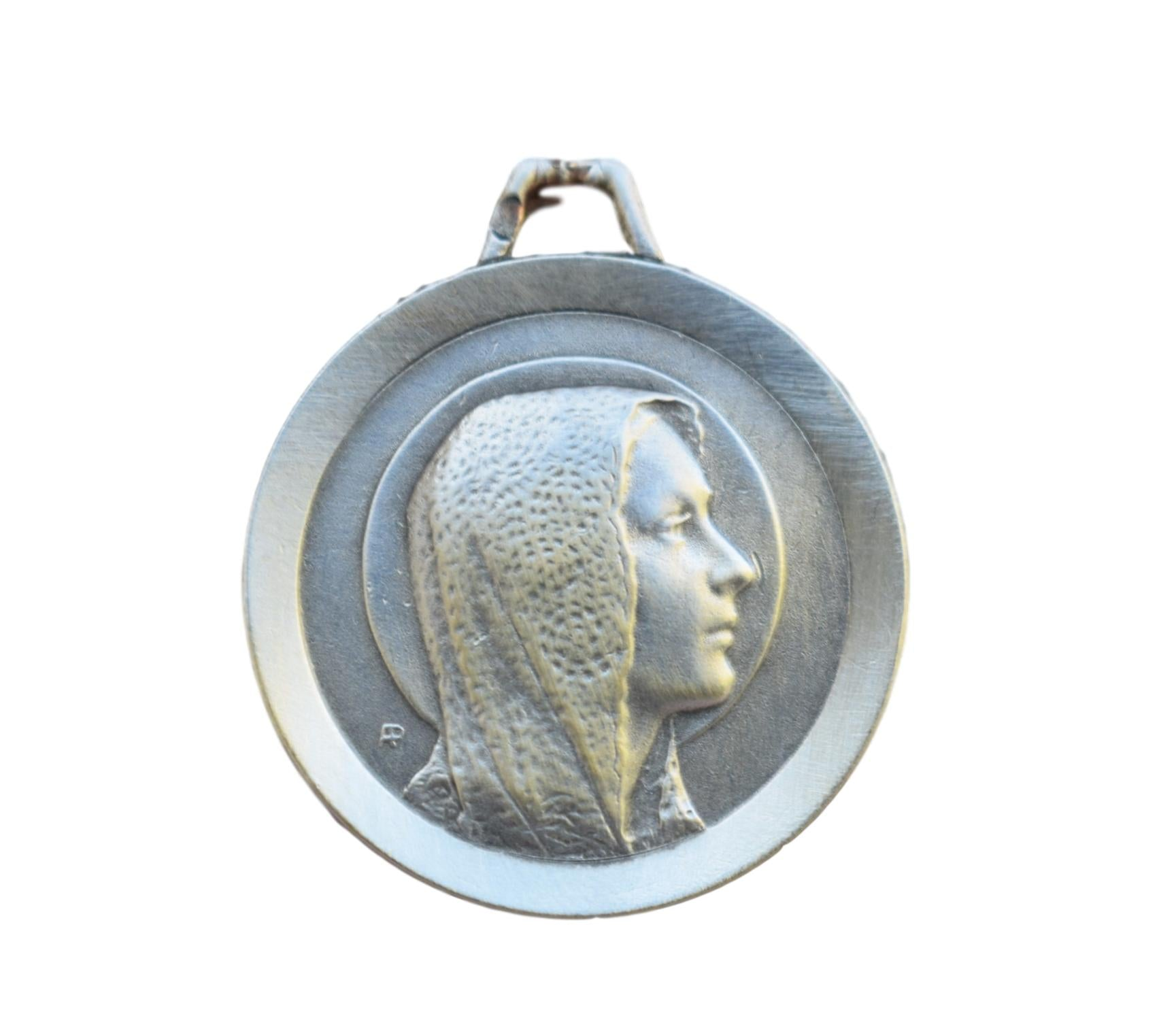 French Antique Sterling Silver Mary Medal - Fine Virgin Mary Portrait Our Lady Pendant - Silver Charm - Lourdes Souvenir