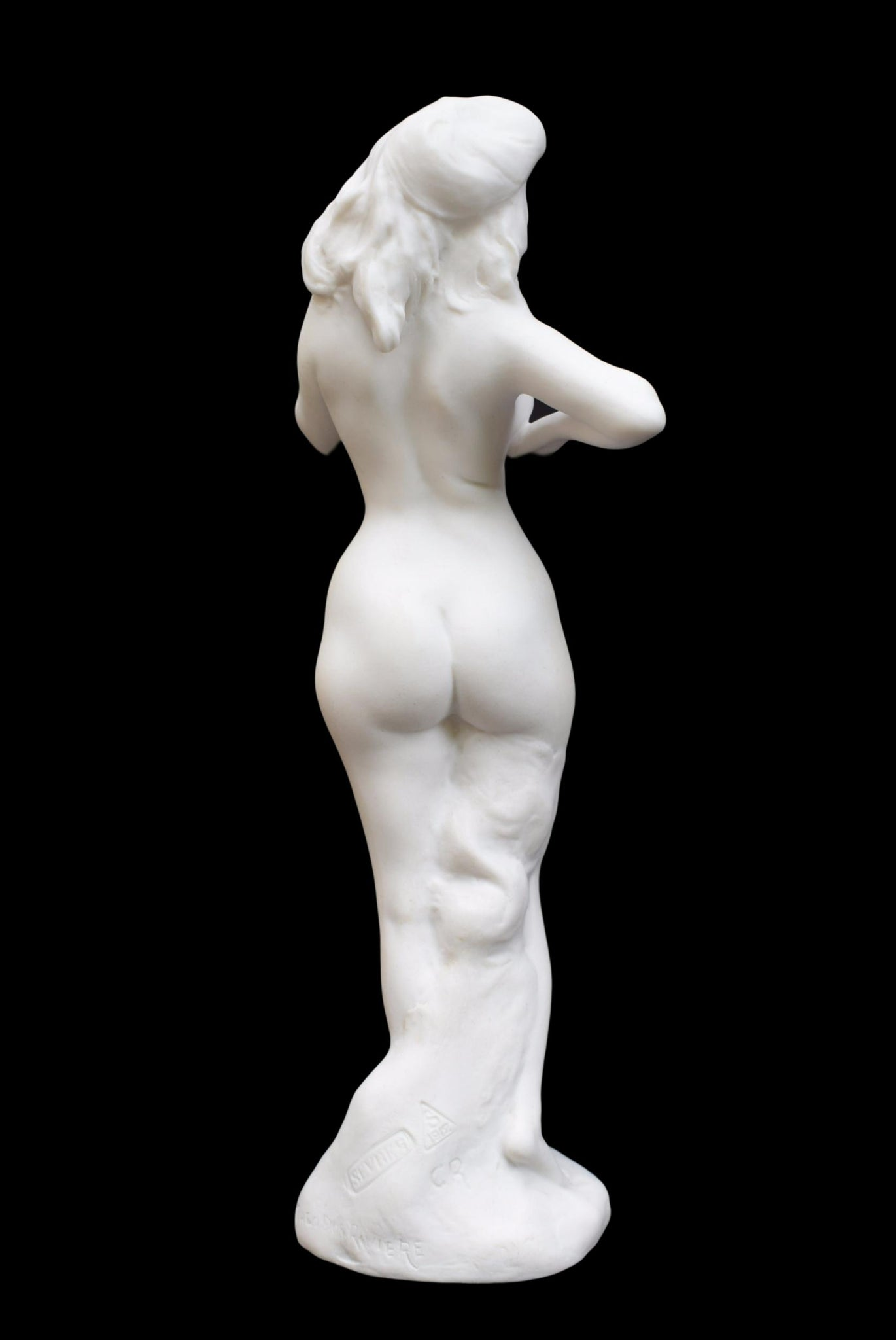 French Antique Rare Sevres Porcelain Statue Nude Woman After Theodore Riviere - National Manufacture of Sevres Bisque Biscuit Figurine