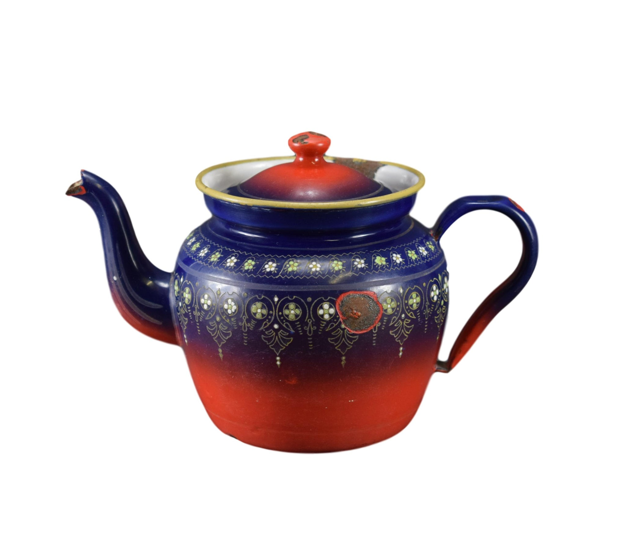 French Vintage Red and Blue Enamel Tea Pot BB Mark Kitchenalia