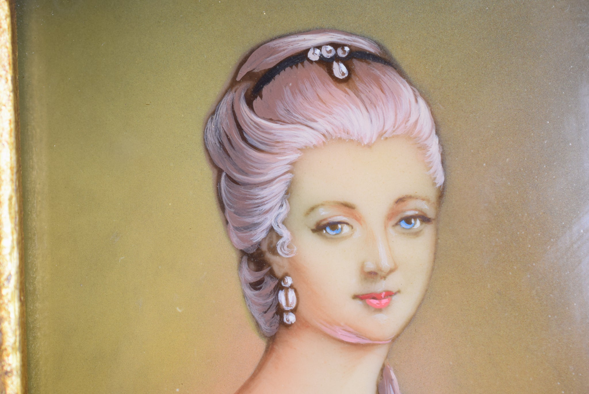 French Antique Miniature Portrait Painting of French Lady Marie Antoinette