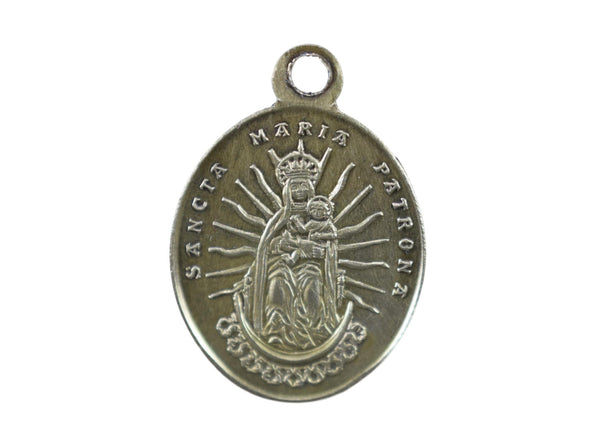 Antique Saint Lamberte Brass Medal Virgin Mary Pendant