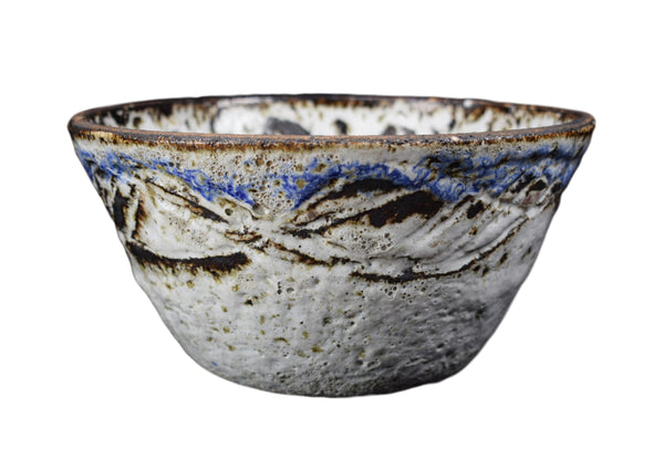 Mid-Century Albert Thiry Pottery Bowl, French Modernist Handmade White and Blue Salad Bowl, Vallauris Pottery