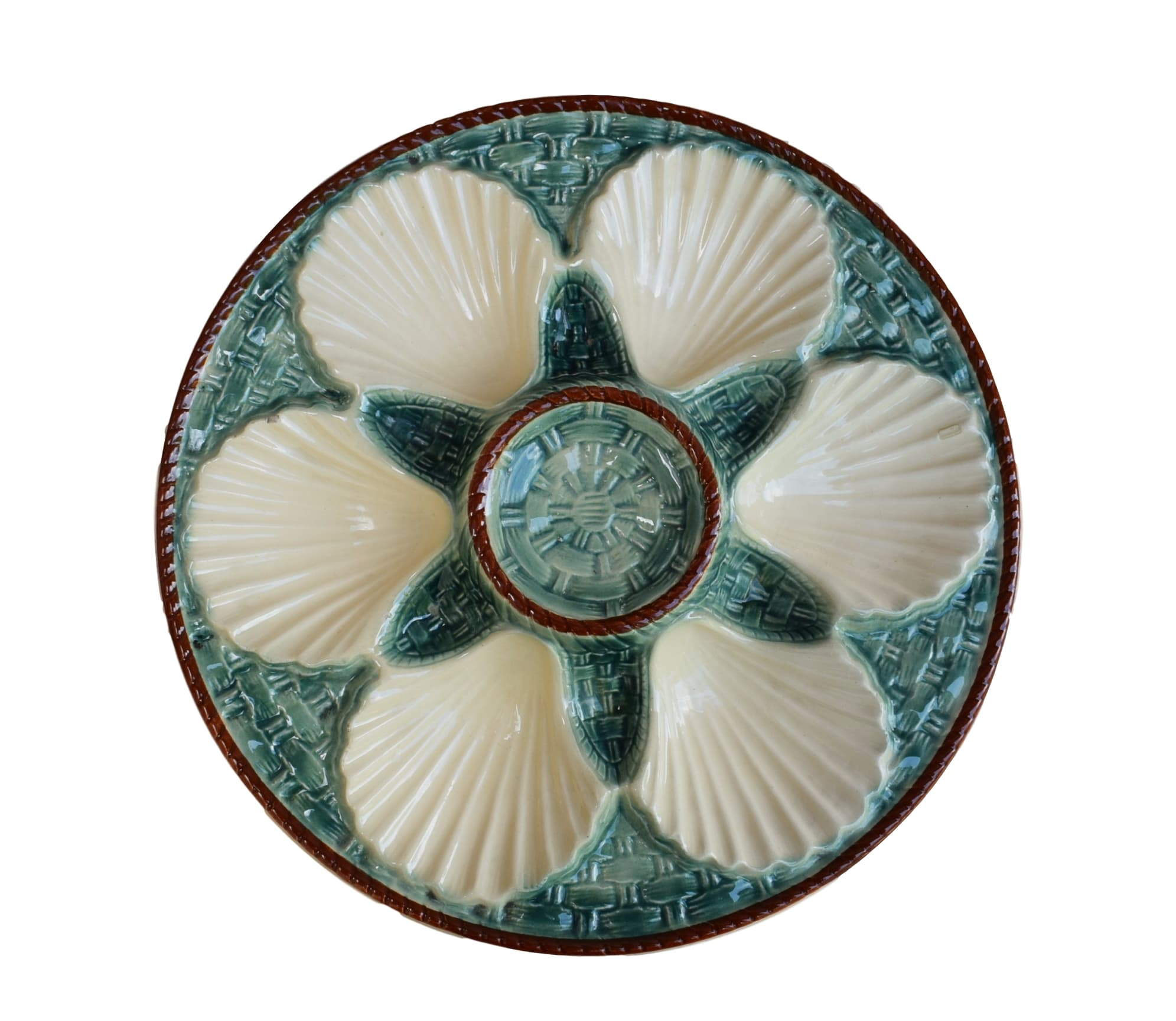 Majolica Oyster Plate - Charmantiques