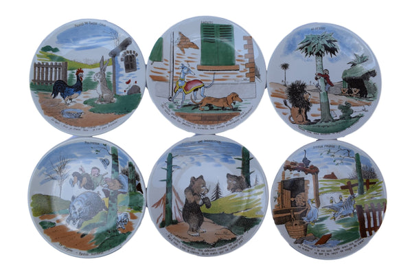 French Antique Benjamin Rabier Sarreguemines Faience Plate - Comic Book Animal Illustrator - 6 Plates Animal Comics Wall Plate - Desk