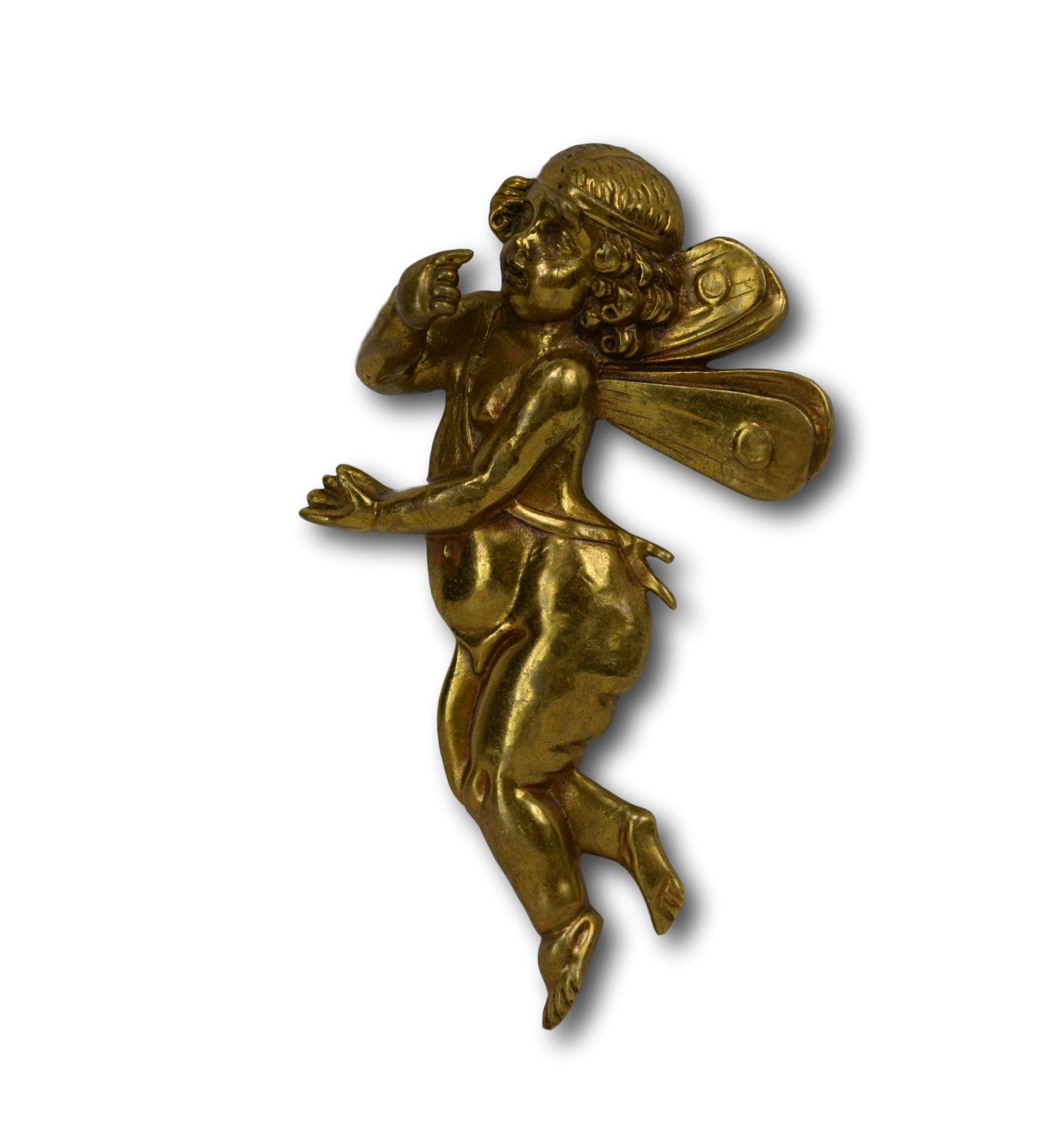French Vintage Angel Pediment Plaque Mount, Bronze Furniture Hardware Salvage, Winged Angels, Shabby Chic Furniture Ornament