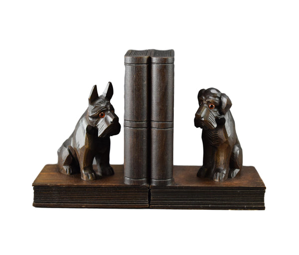 French Art Deco Pair of Carved Wood Scottie Dog Bookends with Glass Eyes Scottish Terrier