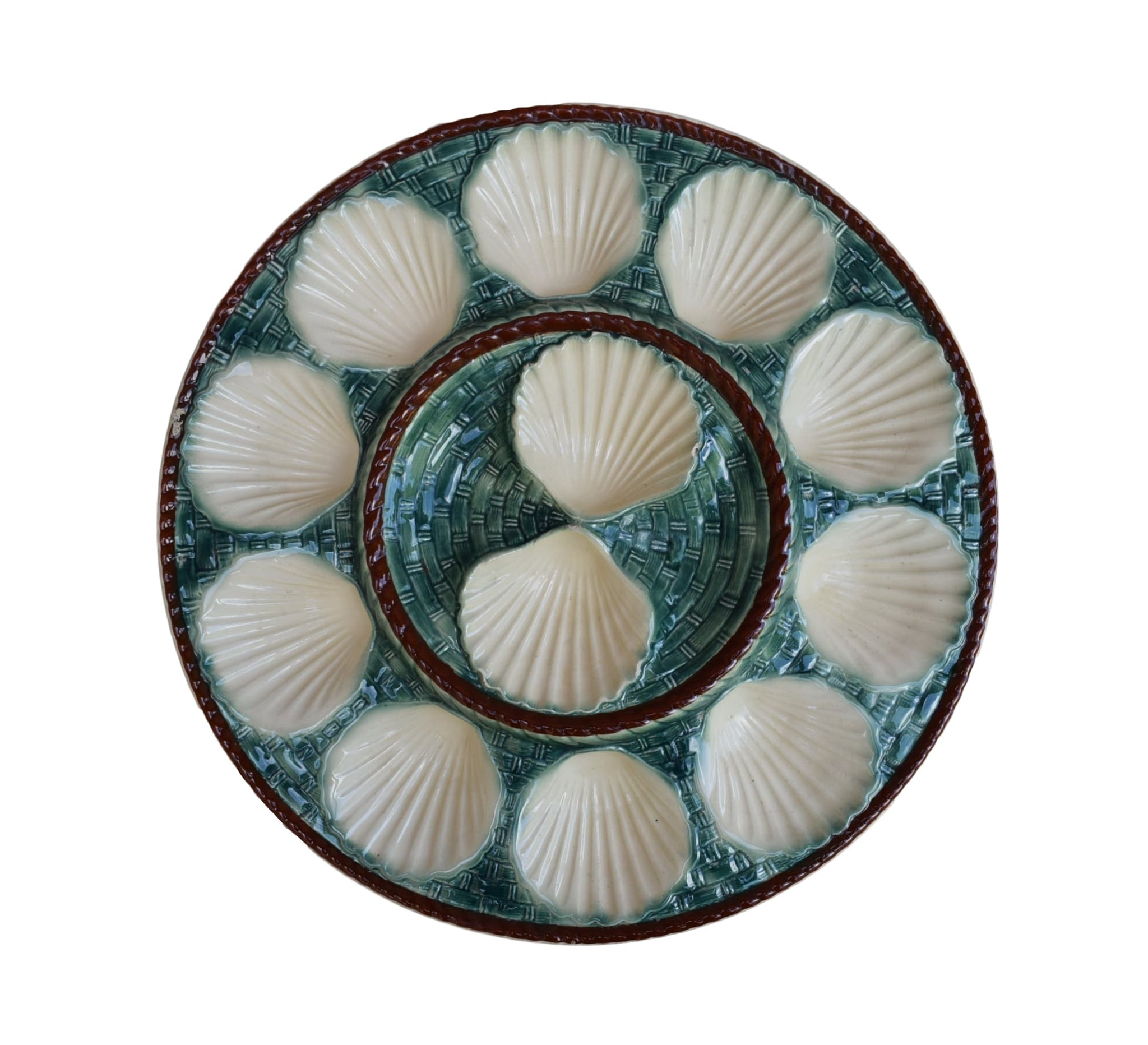 French Antique Majolica Scalloped Oyster Platter by Longchamp - French Green & Brown Scallop Shell Jacques Plate - Seafood