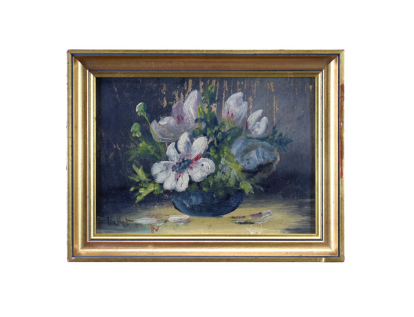 French Vintage Oil Painting Bunch of Flowers Signed