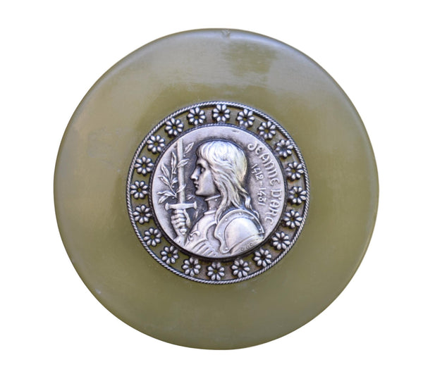 French Antique Saint Joan of Arc Paperweight - Religious Green Onyx Desk Accessory - Communion Christmas Gift