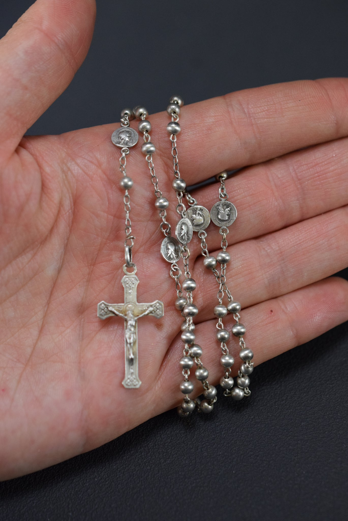 Antique French Sterling Silver Beads Rosary Jesus Mary Medals