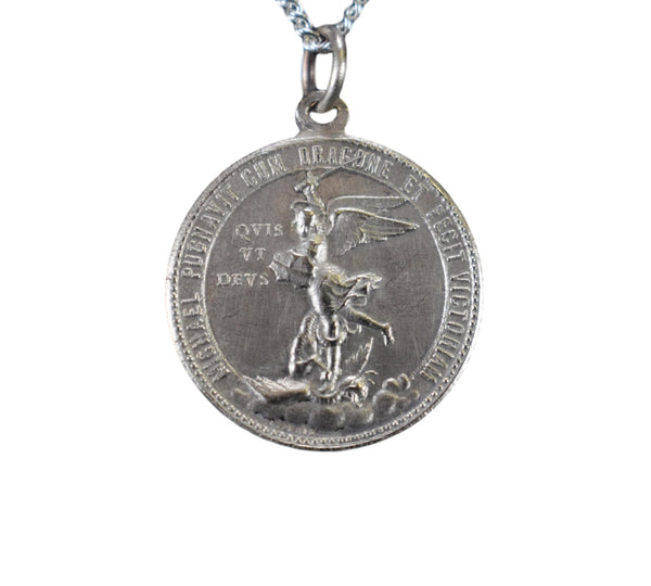 St Michael & Angel Medal by L.Penin - Charmantiques