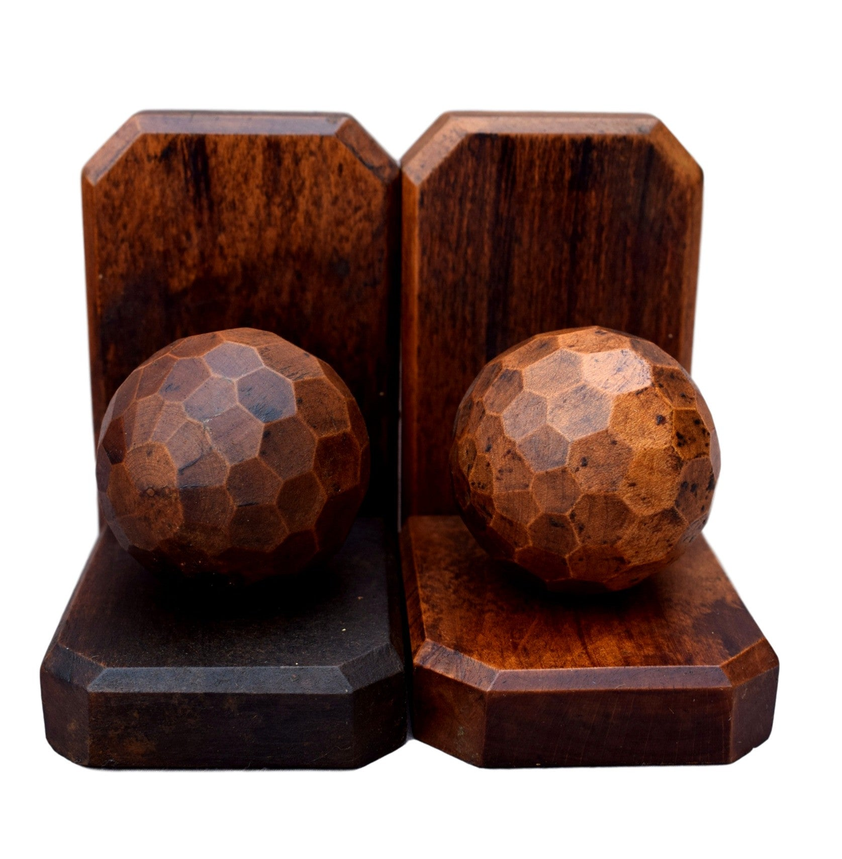 French Vintage World Globe Pair Bookends - Small Faceted Ball Book Ends - Charmantiques