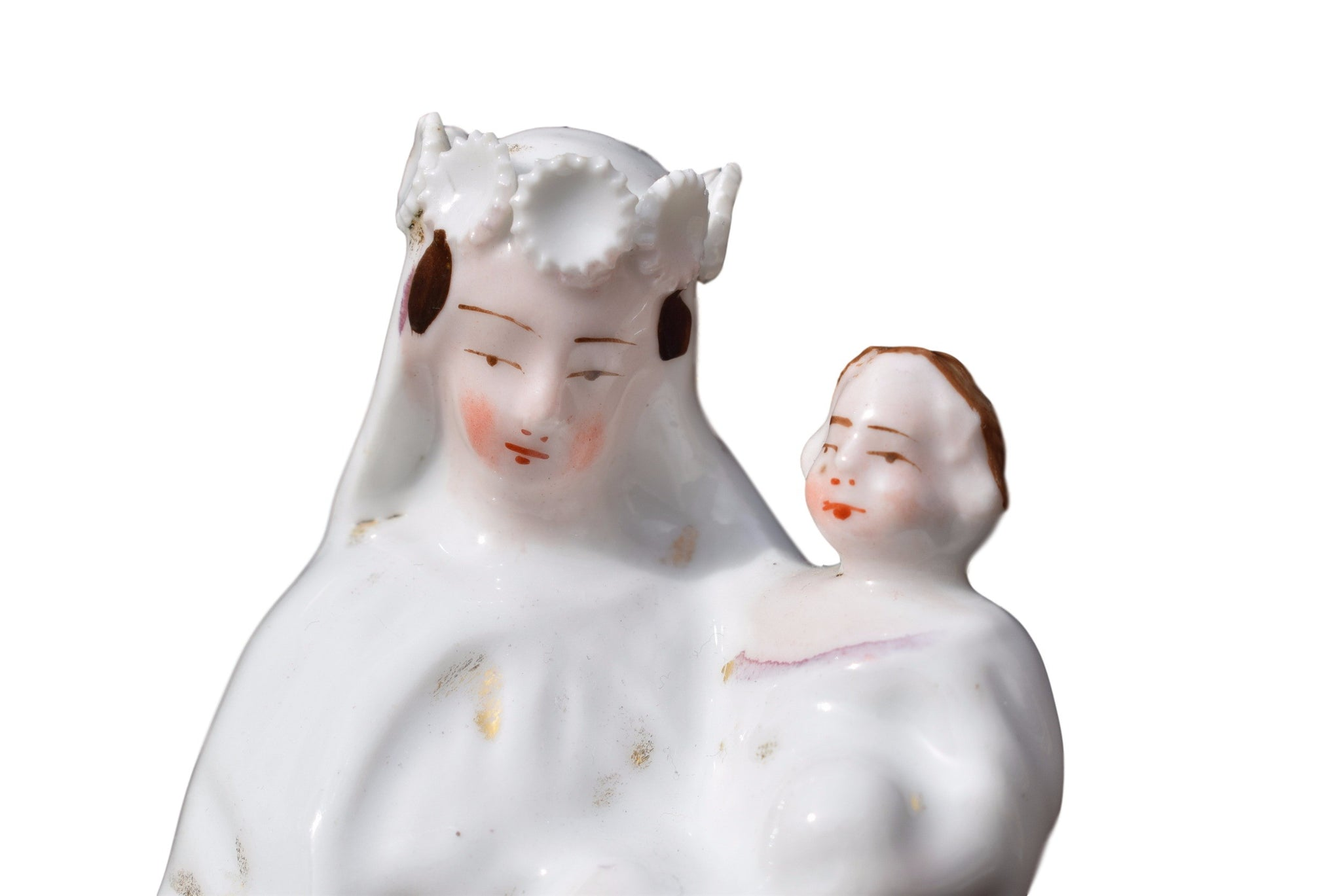 French Antique Paris Porcelain Virgin Mary and Jesus Child Statue - Charmantiques