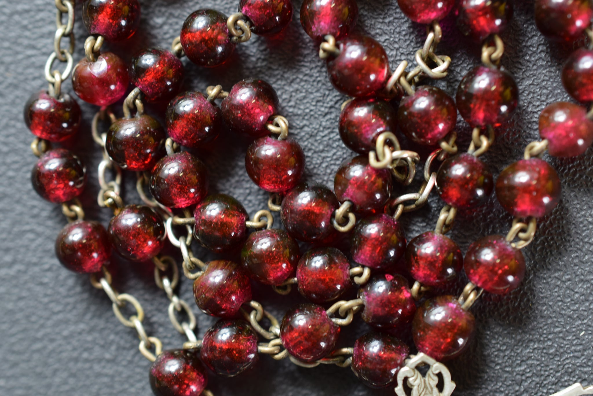 Antique French Red Glass Beads & Sterling Silver Rosary