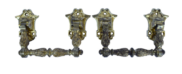 French Antique Pair of Piano Handles - Antique Bronze Ormolu Hardware 19th.c - Louis XVI style - Furniture Ornament Repurpose Supplies