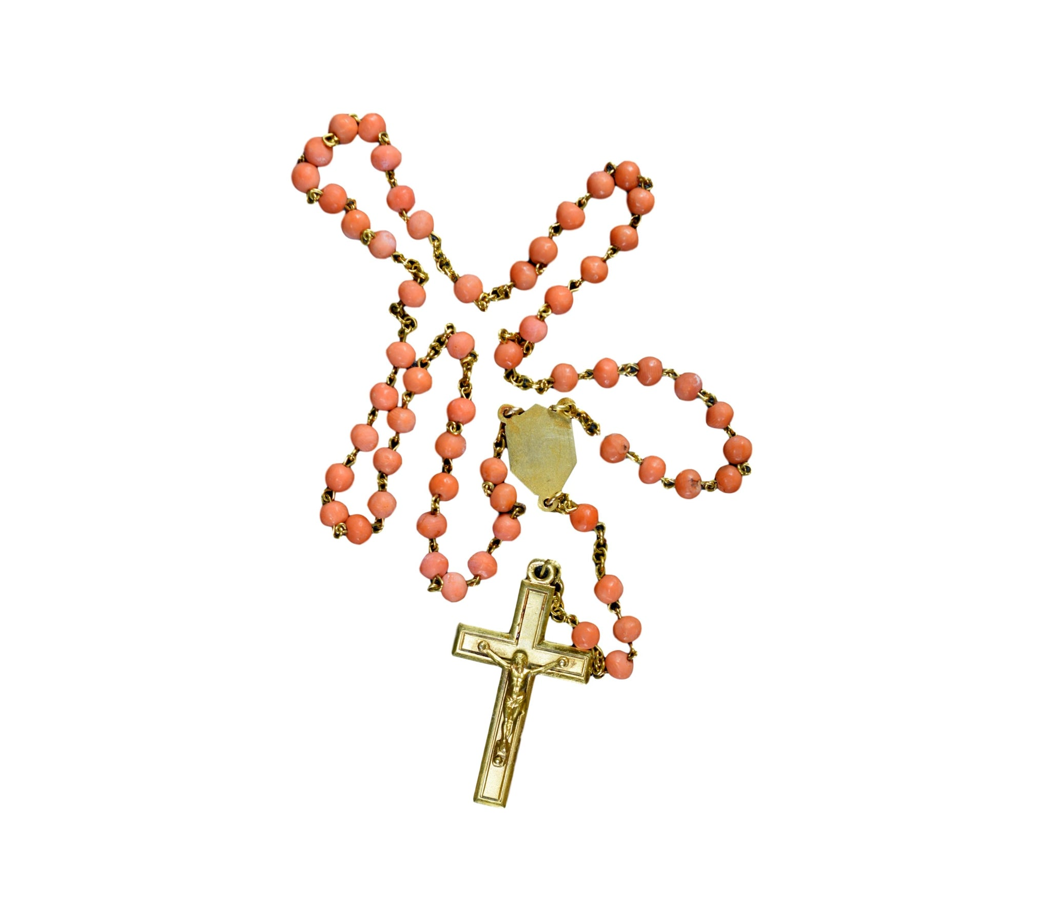 Vintage French Genuine Coral Beads and Gold Plated Rosary
