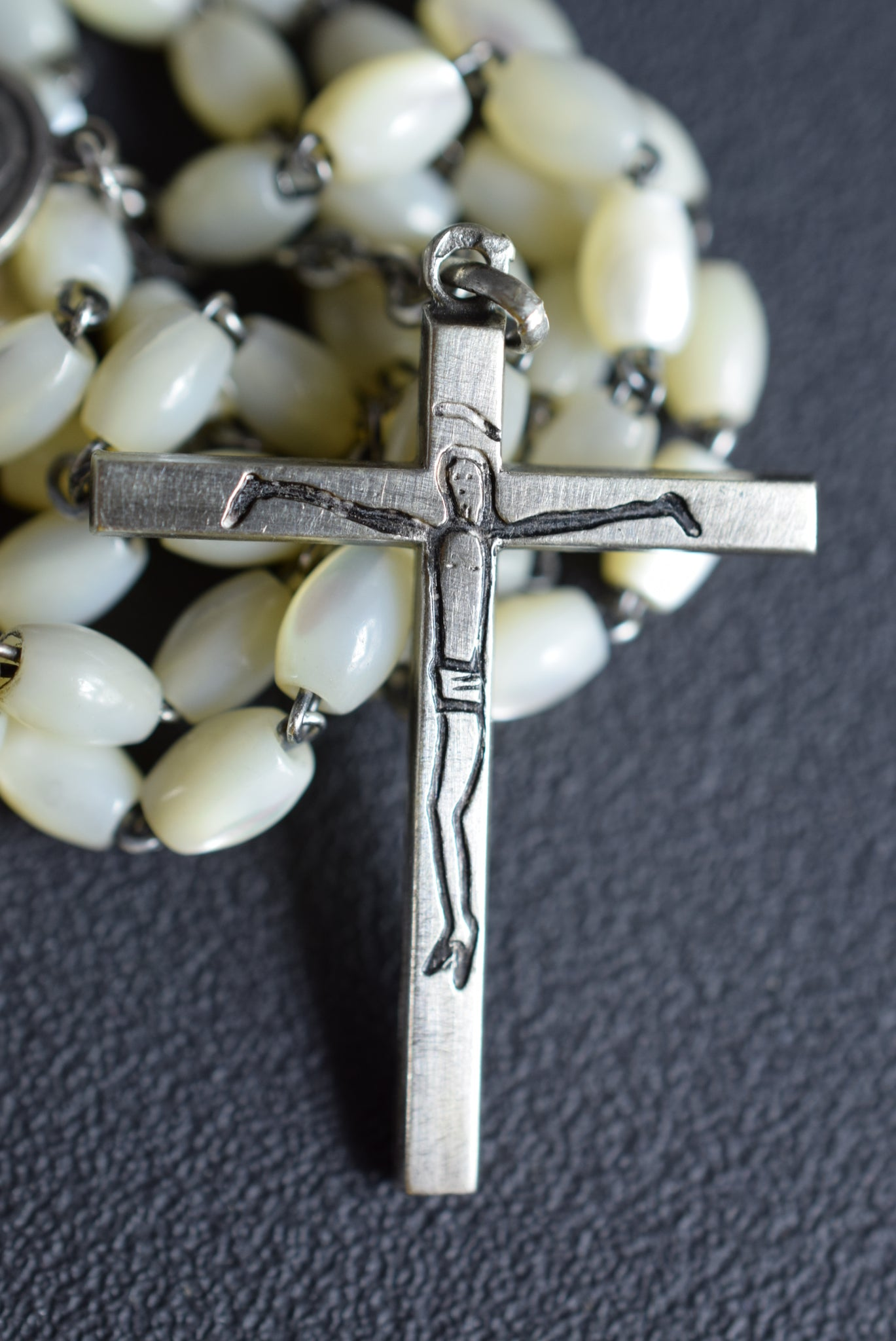 Modernist Mother of Pearl & Sterling Silver Rosary French Catholic
