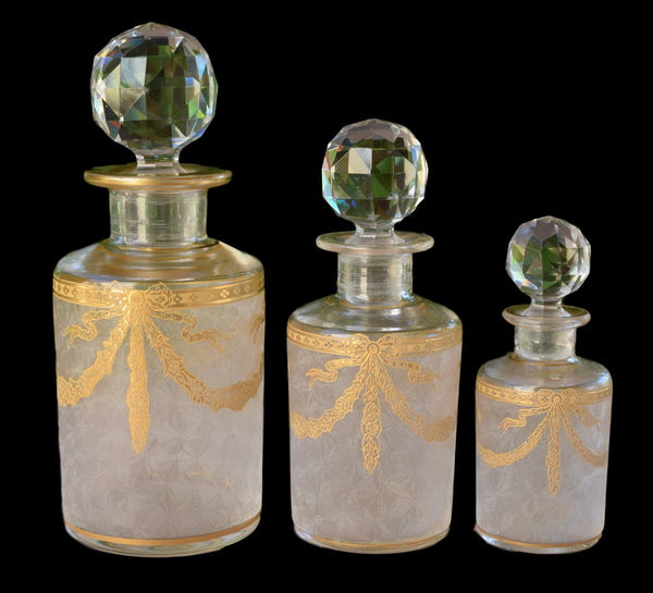 French Antique Set of Three Baccarat Crystal Perfume Bottle - Louis XVI Style Gold Decor of Garland - Scent Dresser Vanity Perfume Bottles