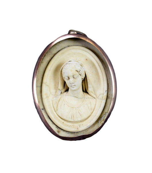 French Antique Carved Meerschaum Reliquary Medallion of Mary by Mattei