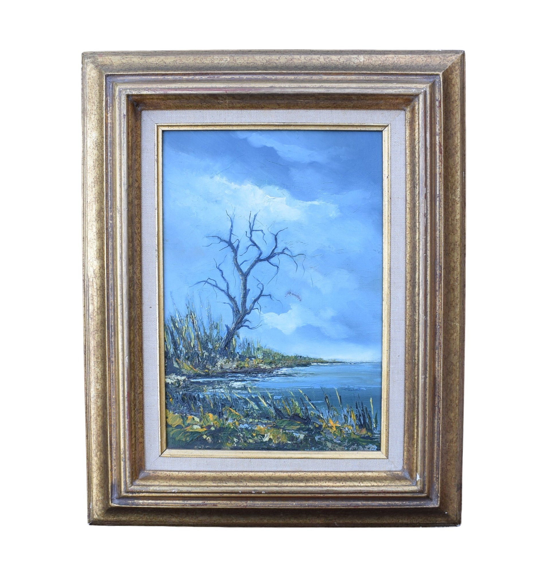 French Vintage Gilt Frame Oil Painting on Canvas Signed Robert Prelot - Charmantiques